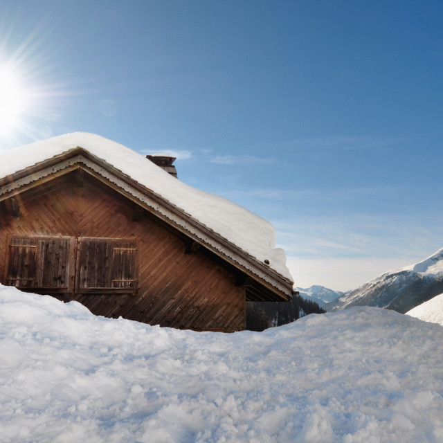 """""""cottage in winter"""" stock image"""