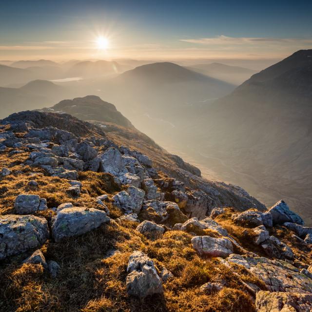 """""""Glencoe Sunrise"""" stock image"""