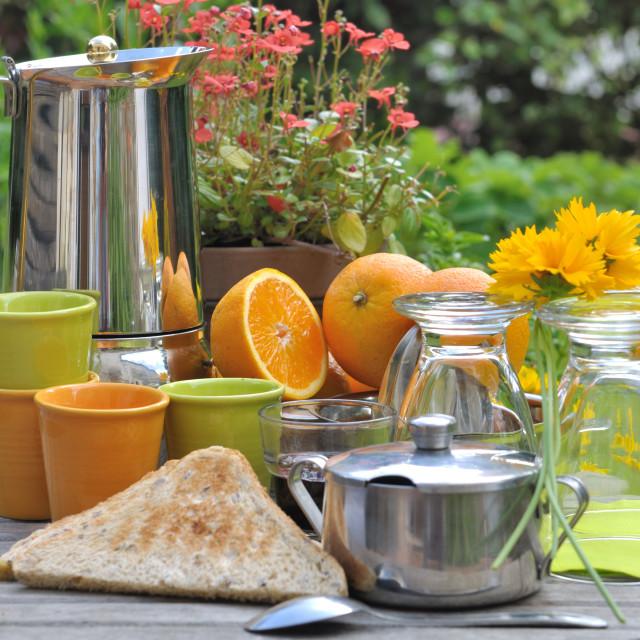 """""""breakfast in garden"""" stock image"""