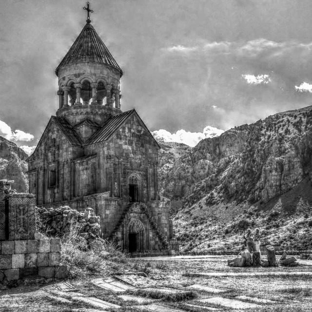 """""""The 13th century Armenian monastery Noravank (BW Version)"""" stock image"""