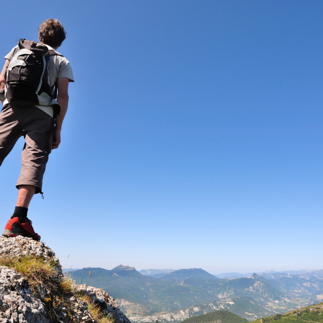 """hiker admiring the landscape"" stock image"