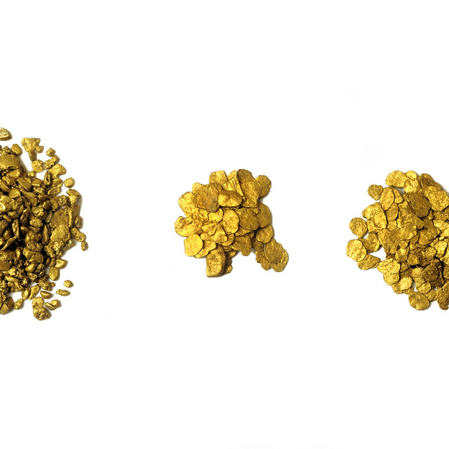 """lots of glitter and alluvial gold nuggets"" stock image"
