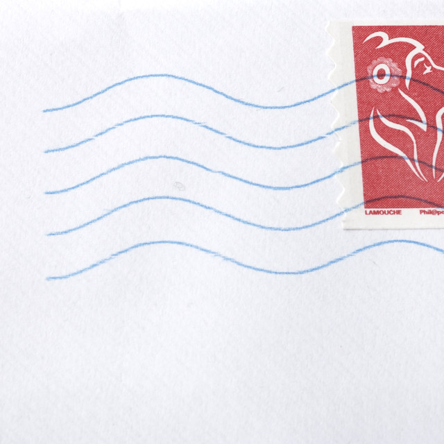 """""""A white envelope letter with stamp"""" stock image"""