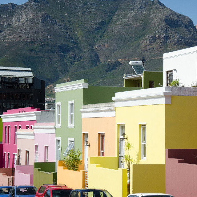 """Bo-kaap and Table Mountain"" stock image"