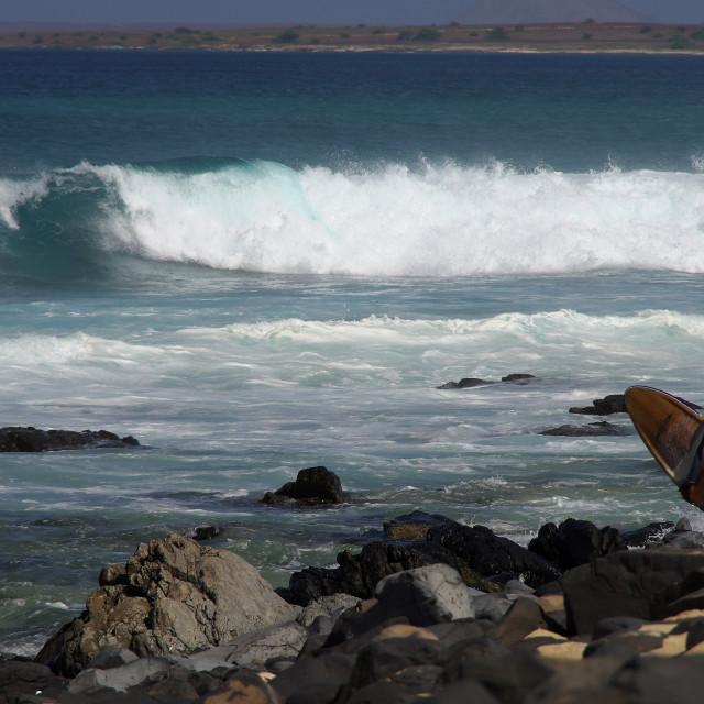 """Surfer looking at sea"" stock image"
