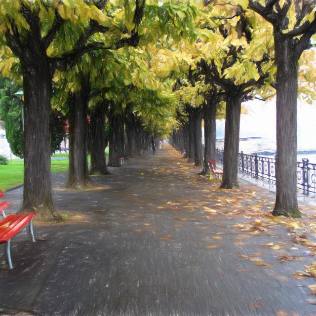 """""""Red Park Bench"""" stock image"""