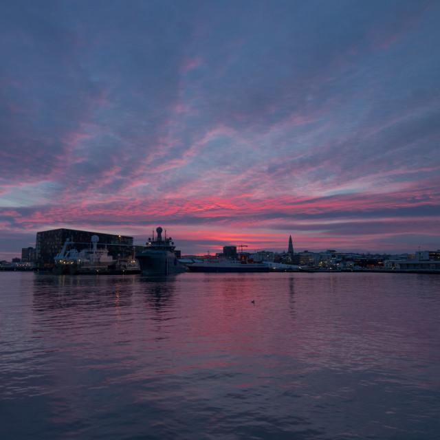 """Reykjavik Harbour at dawn"" stock image"