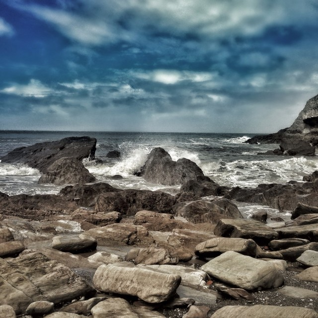 """Rocky Shoreline"" stock image"