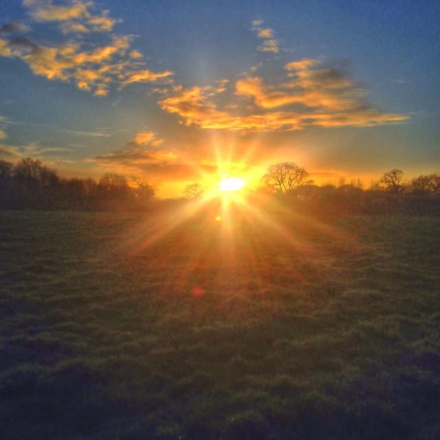 """Sunrise in Berkshire"" stock image"