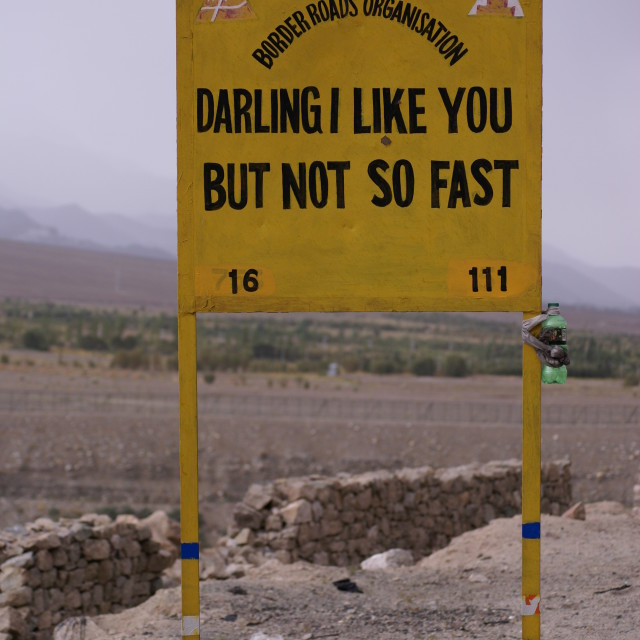 """Traffic Speed Signs, Himalayas"" stock image"
