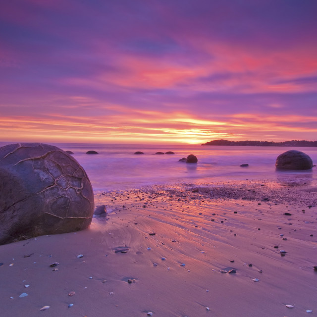 """Moeraki Boulder Sunrise"" stock image"