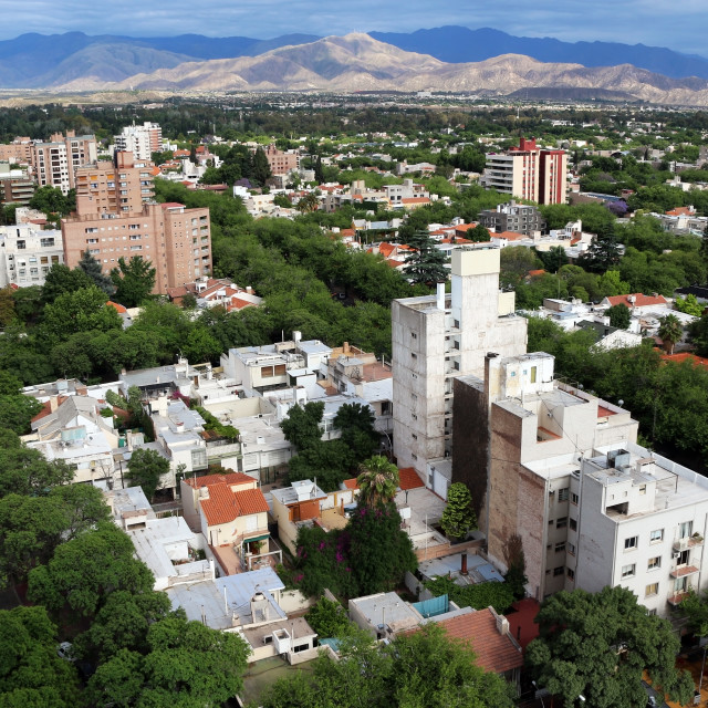 """aerial view over Mendoza, Argentina"" stock image"