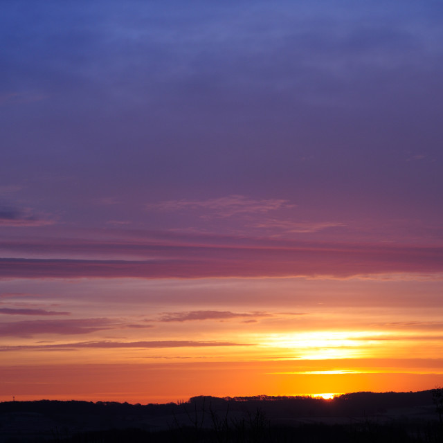 """Sunrise Nottinghamshire ,UK."" stock image"