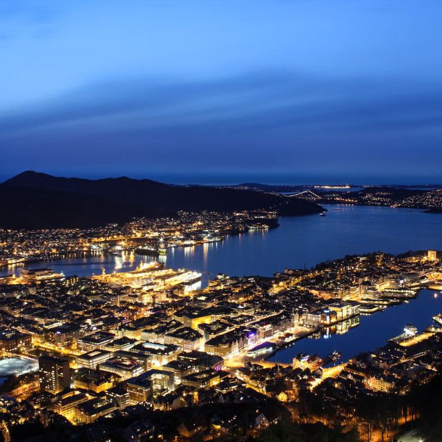"""""""Downtown Bergen, Norway, by night"""" stock image"""