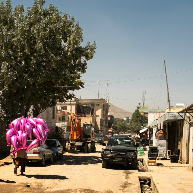 """Purple balloons in Kabul"" stock image"