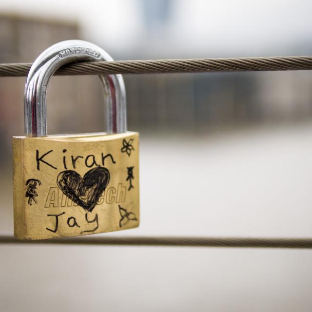 """Love Padlock on the Millennium Bridge"" stock image"