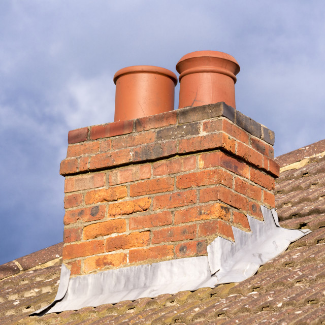"""Chimney on Roof of House"" stock image"