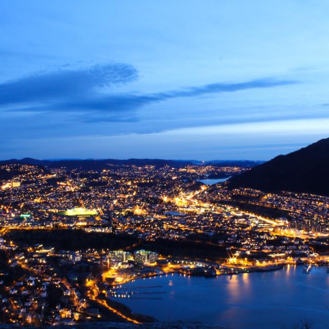 """Bergen, Norway, by night"" stock image"