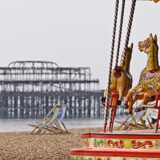 """Carousel on Brighton Beach, Brighton, East Sussex, Britain - 2010"" stock image"