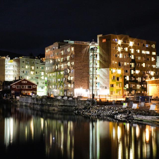 """""""Norwegian student housing by night"""" stock image"""