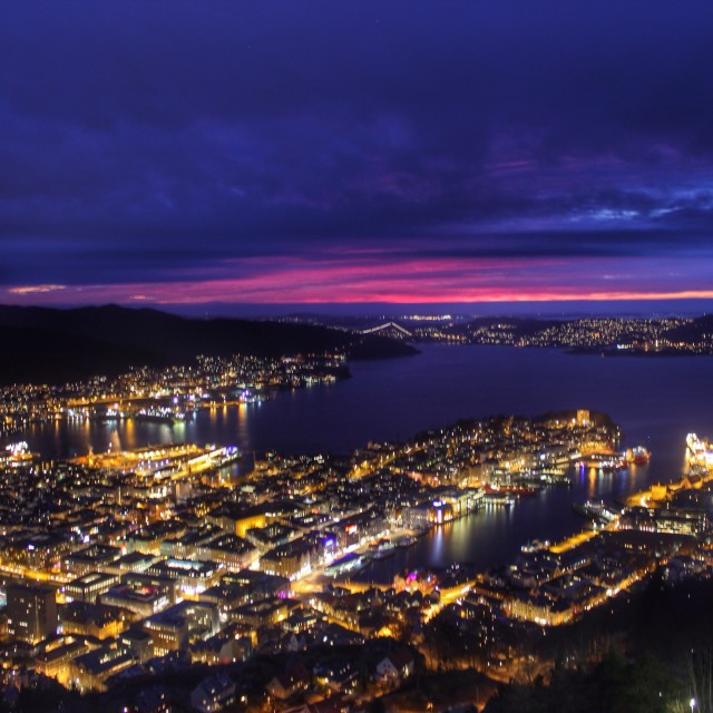 """""""Dramatic sunset over downtown Bergen"""" stock image"""
