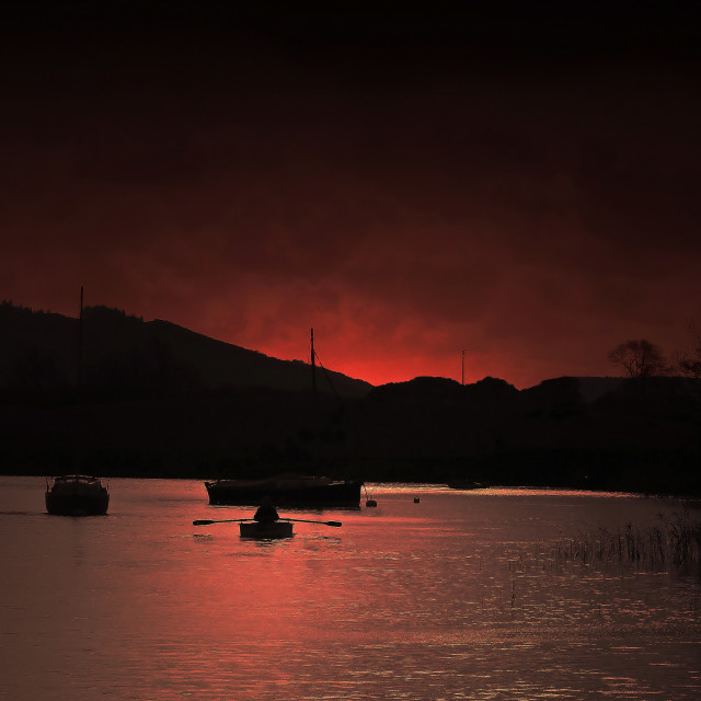 """Sunset at Lake Coniston"" stock image"