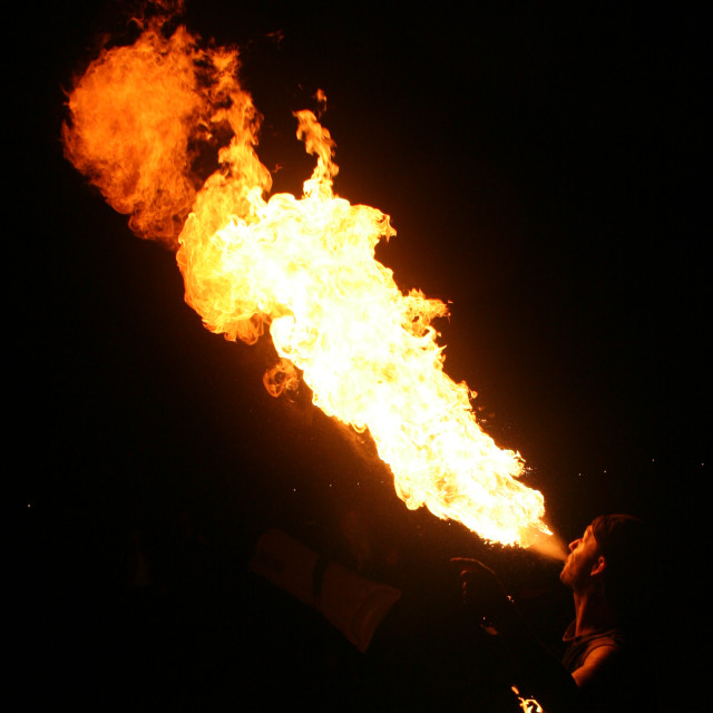 """""""Fire breathing"""" stock image"""