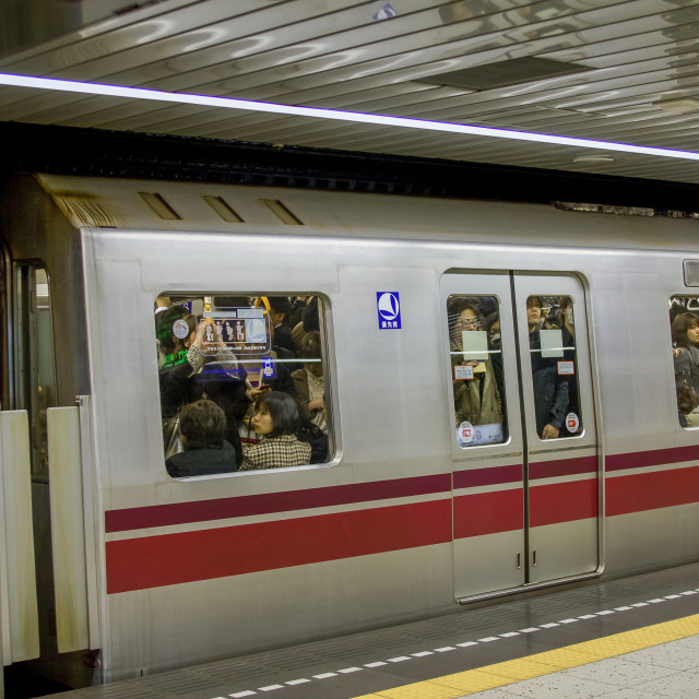 """""""Crowded subway train in Tokyo"""" stock image"""