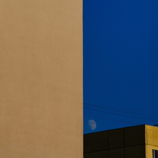 """City landscape with moon"" stock image"