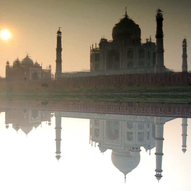 """Reflections of the Taj, Agra, India"" stock image"