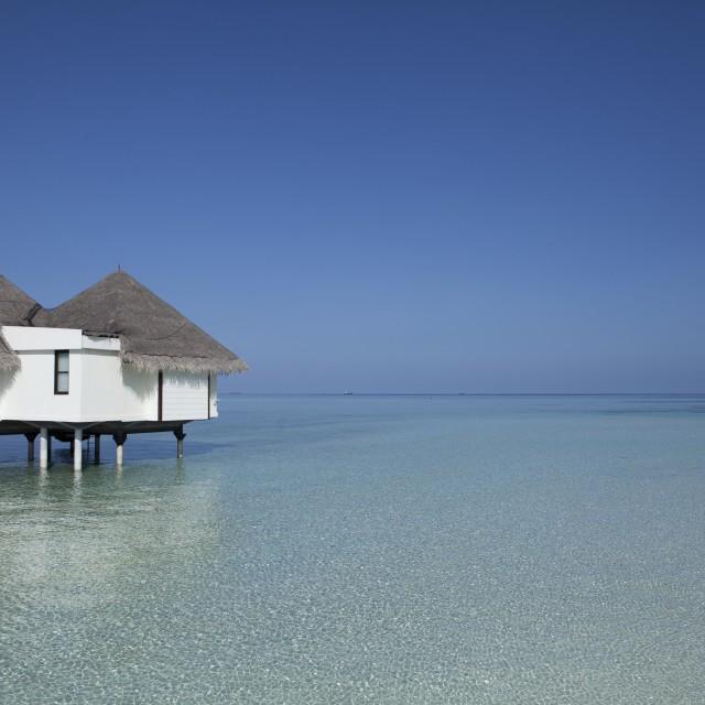 """Water bungalow - Kuda Huraa, Maldives"" stock image"