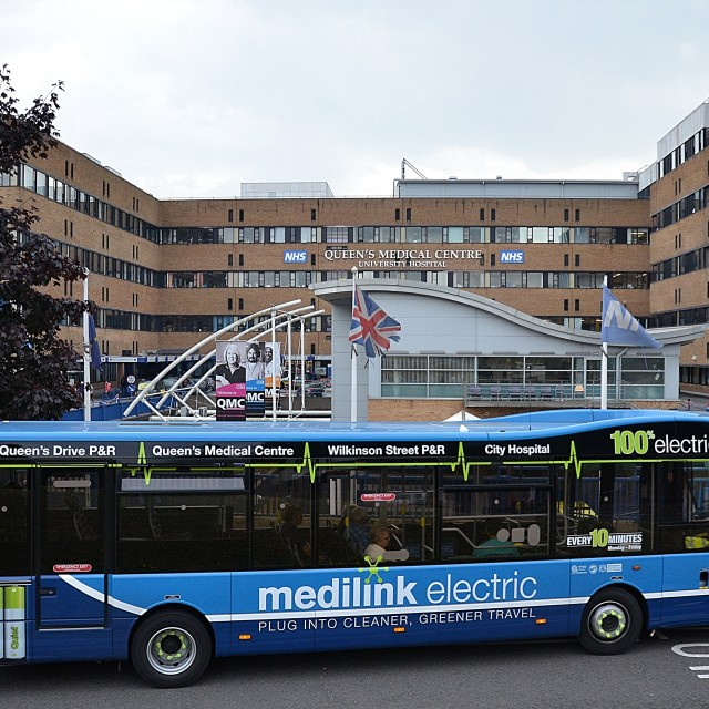 """The Queen's Medical Centre With medilink electric bus"" stock image"