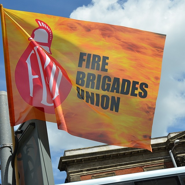 """fire brigades union flag"" stock image"
