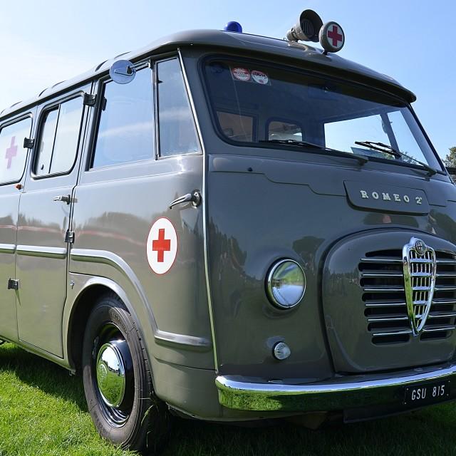 """Old Alfa Romeo Italian Red Cross Ambulance GSU 815"" stock image"
