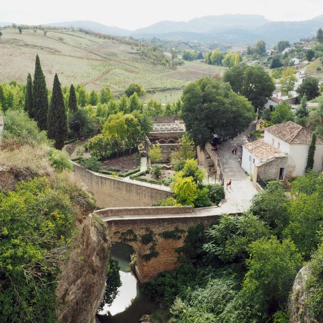 """The Arabic Baths and Roman Bridge, Ronda"" stock image"