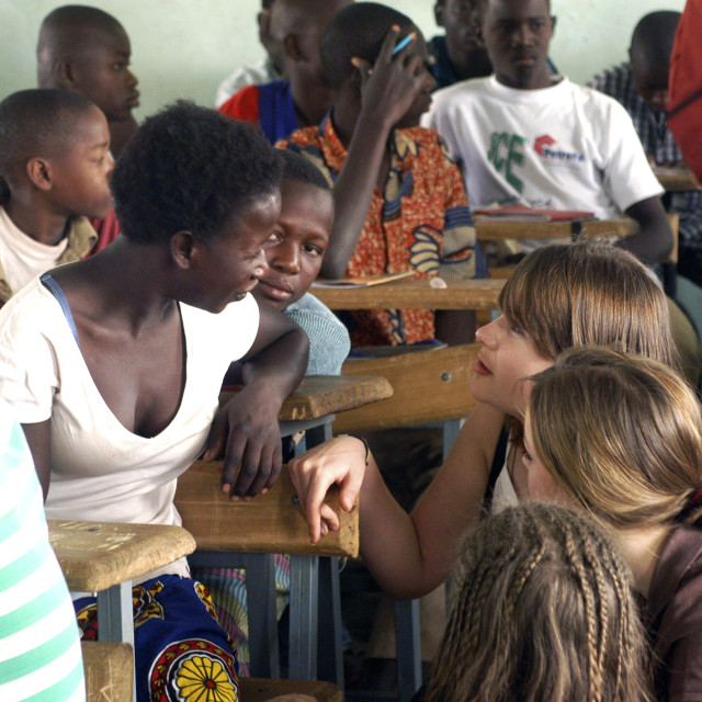 """Visit French schoolboys in Burkina Faso"" stock image"