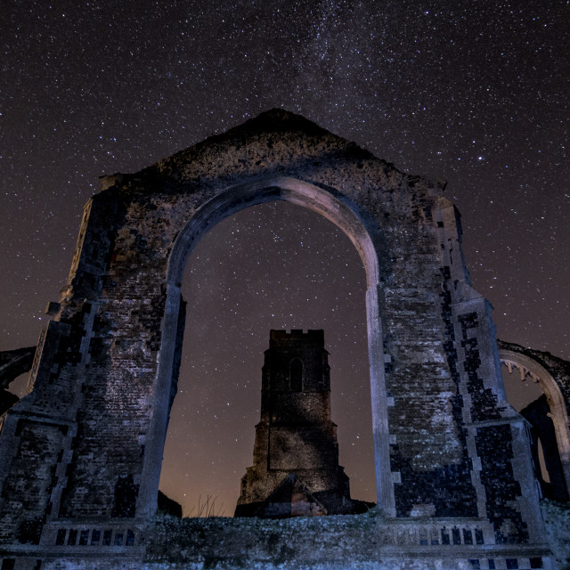 """St Andrew's Church Under the Stars"" stock image"