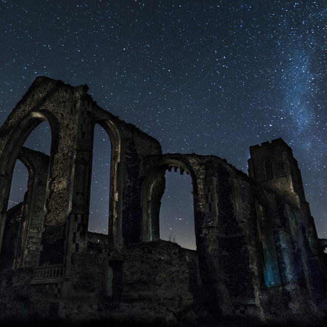 """Starry Night over Church Ruin"" stock image"