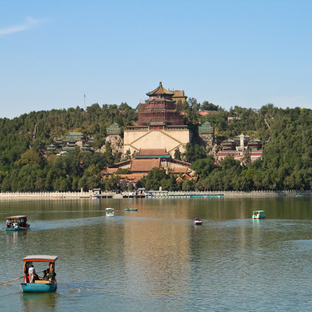 """Boating on the Kunming lake of the Summer Palace park in Beijin"" stock image"