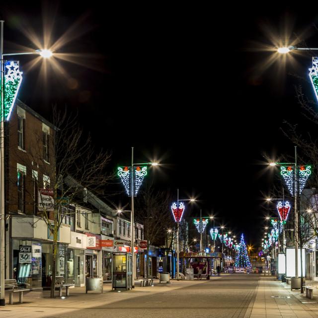 """No More Christmas Shopping - High Street at Night"" stock image"