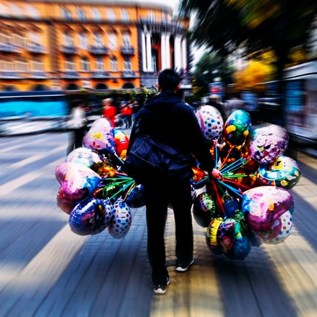 """""""""""Balloon man"""""""" stock image"""