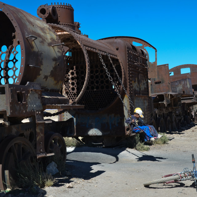 """Playground in the train graveyard, Bolivia"" stock image"