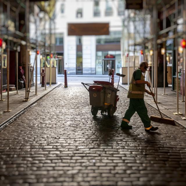 """Road Sweeper, Leadenhall Market"" stock image"
