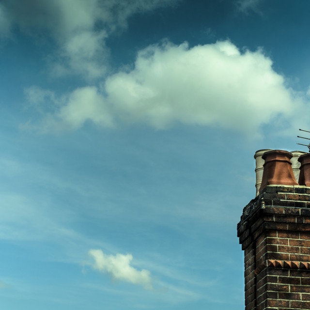 """Chimney Stack with Television Aerials"" stock image"