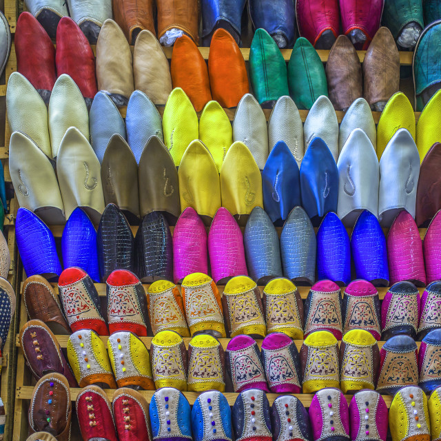 """""""Oriental shoes on display"""" stock image"""