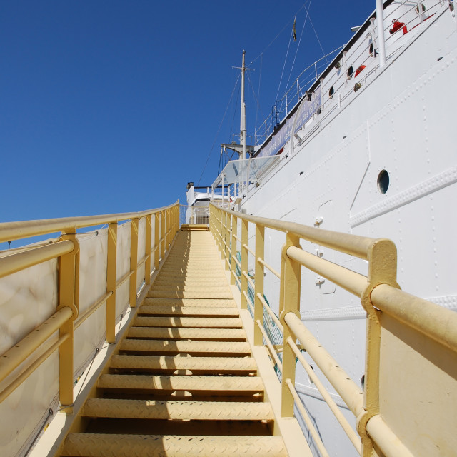 """Steps up to a ship"" stock image"