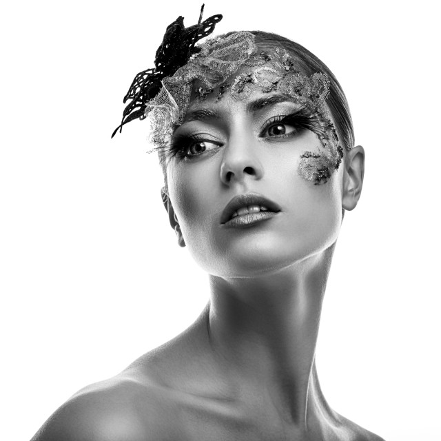 """Black and White fashion portrait. Beautiful Girl. Creative Fashion Makeup."" stock image"