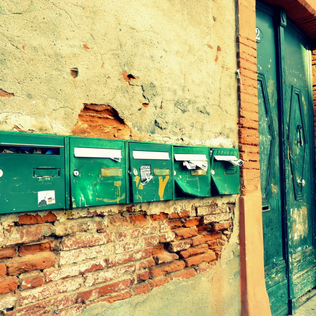 """""""Postboxes - Unbroken"""" stock image"""