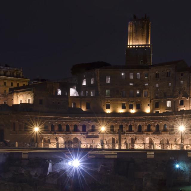 """Trajan's Forum in Rome by night"" stock image"