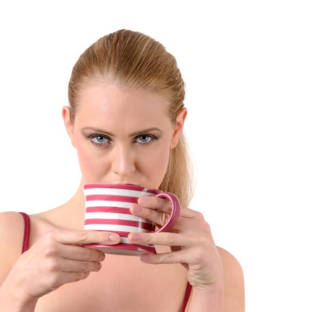"""woman drink tea or coffee"" stock image"